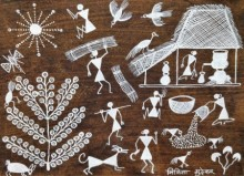 Traditional Indian art title Warli Art 23 on Cloth - Warli Paintings