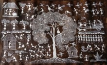 Traditional Indian art title Warli Art 25 on Cloth - Warli Paintings
