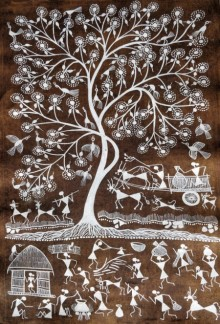 Traditional Indian art title Warli Art 26 on Cloth - Warli Paintings