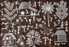 Traditional Indian art title Warli Art 29 on Cloth - Warli Paintings