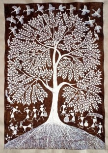 Sanjay Parhad | Warli Traditional art title Warli Art 30 on Cloth | Artist Sanjay Parhad Gallery | ArtZolo.com