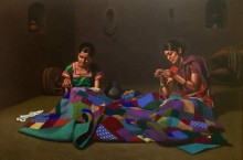 Figurative Color-pencil Art Drawing title 'Godhadi' by artist Shashikant Dhotre