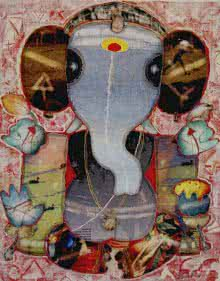 Religious Mixed-media Art Painting title Ganesha 1 by artist G Subramanian