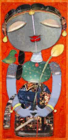 Figurative Mixed-media Art Painting title Girl With Parrot 1 by artist G Subramanian