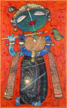 Religious Mixed-media Art Painting title Krishna Playing Flute 3 by artist G Subramanian