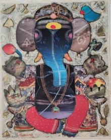 art, painting, mixedmedia, canvas, religious, ganesha