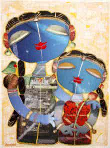 Figurative Mixed-media Art Painting title Sisters Love by artist G Subramanian