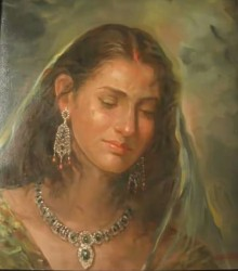 Portrait Oil Art Painting title Beauty 1 by artist Sabir Hussain