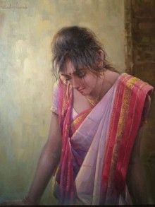 Portrait Oil Art Painting title Dream by artist Sabir Hussain