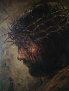 Religious Oil Art Painting title Jesus by artist Sabir Hussain