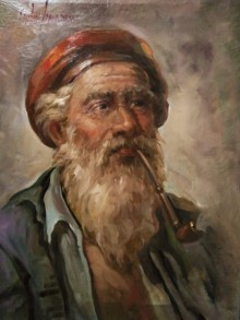 Portrait Oil Art Painting title Old Man by artist Sabir Hussain