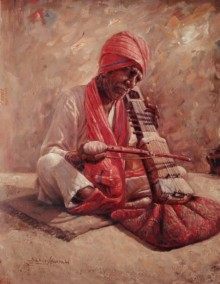 Portrait Oil Art Painting title Old Man With Sarangi by artist Sabir Hussain
