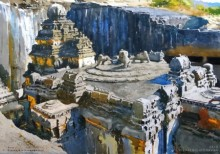 Vishal Chavan | Watercolor Painting title Ancient Mystery Kailash Temple on Paper | Artist Vishal Chavan Gallery | ArtZolo.com