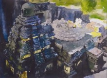Place Watercolor Art Painting title Kailash Temple by artist Vishal Chavan