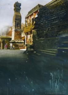 Place Watercolor Art Painting title Kailash Temple Ellora by artist Vishal Chavan
