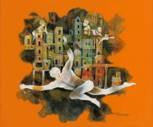 contemporary Acrylic Art Painting title 'Life In Mumbai' by artist Satish Patil