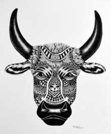 Animals Pen Art Drawing title 'Bull' by artist Kushal Kumar