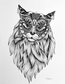 Animals Pen Art Drawing title 'Cat 1' by artist Kushal Kumar