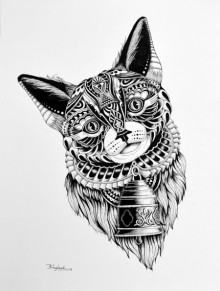 Animals Pen Art Drawing title 'Cat 2' by artist Kushal Kumar