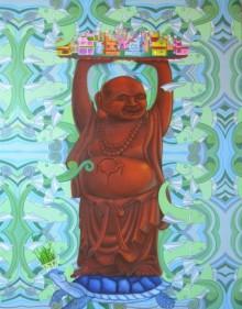 contemporary Oil & enamel Art Painting title Conscious Of Vastu by artist Kushal Kumar