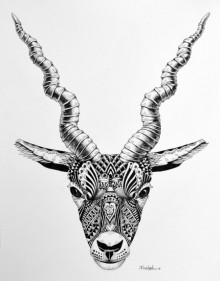 Animals Pen Art Drawing title 'Deer' by artist Kushal Kumar