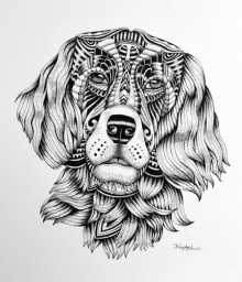 Animals Pen Art Drawing title 'Dog' by artist Kushal Kumar