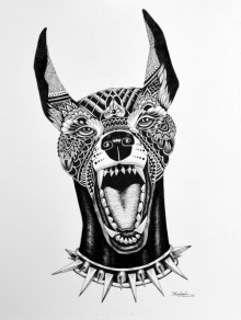 Animals Pen Art Drawing title 'Dog Doberman' by artist Kushal Kumar