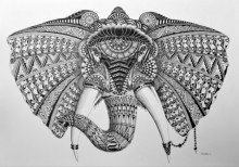 Animals Pen Art Drawing title 'Elephant 2' by artist Kushal Kumar