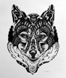 Animals Pen Art Drawing title 'Fox 1' by artist Kushal Kumar