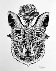 Animals Pen Art Drawing title 'Fox 2' by artist Kushal Kumar