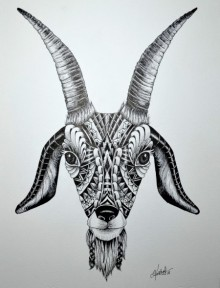 Animals Pen Art Drawing title 'Goat' by artist Kushal Kumar