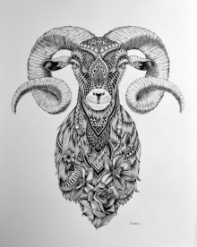 Animals Pen Art Drawing title 'Goat 3' by artist Kushal Kumar
