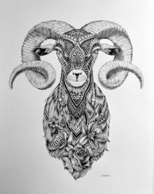 Pen Paintings | Drawing title Goat 3 on Paper | Artist Kushal Kumar