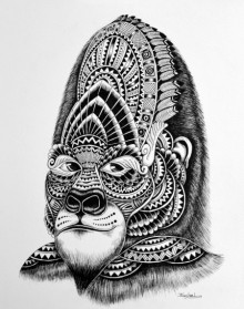 Animals Pen Art Drawing title 'Gorilla' by artist Kushal Kumar