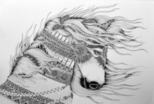 Animals Pen Art Drawing title 'Horse 1' by artist Kushal Kumar