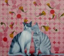 Kushal Kumar Paintings | Acrylic-oil Painting - Kiss by artist Kushal Kumar | ArtZolo.com