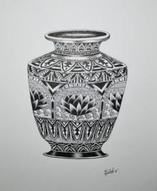 Pots/Vessels Pen Art Drawing title 'Kumba' by artist Kushal Kumar