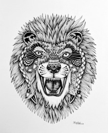 Animals Pen Art Drawing title 'Lion 1' by artist Kushal Kumar