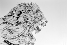 Animals Pen Art Drawing title 'Lion King' by artist Kushal Kumar