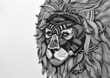 Animals Pen Art Drawing title 'Lion Mask 1' by artist Kushal Kumar