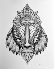 Animals Pen Art Drawing title 'Mandrill' by artist Kushal Kumar