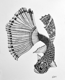 Animals Pen Art Drawing title 'Meena' by artist Kushal Kumar