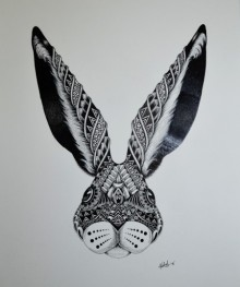 Animals Pen Art Drawing title 'Rabbit' by artist Kushal Kumar