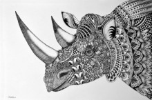 Animals Pen Art Drawing title 'Rhinoceros' by artist Kushal Kumar
