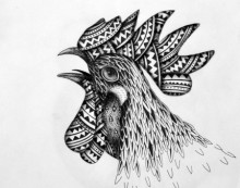 Animals Pen Art Drawing title 'Rooster' by artist Kushal Kumar