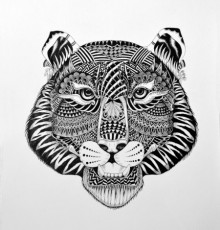 Animals Pen Art Drawing title Tiger by artist Kushal Kumar