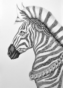 Animals Pen Art Drawing title 'Zeebra' by artist Kushal Kumar