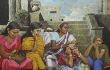 Biswajit Roy | Mixed-media Painting title Whole Family On The Steps on Canvas | Artist Biswajit Roy Gallery | ArtZolo.com