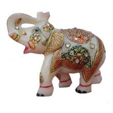 Saluting Colorful Elephant | Craft by artist Ecraft India | Marble