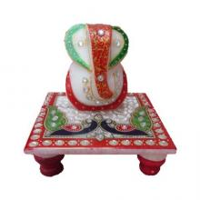 Ecraft India | Lord Ganesha With Peacock On Chow Craft Craft by artist Ecraft India | Indian Handicraft | ArtZolo.com